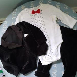 Little Me 3 Piece Velour Baby Boy Suit